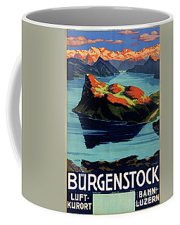 Coffee Mug featuring the photograph Switzerland Vintage Travel Poster Restored by Carsten Reisinger