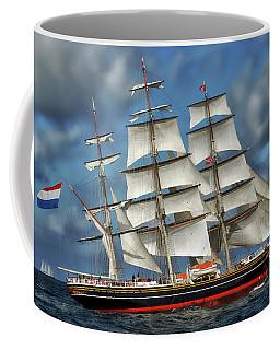 Three Mast Schooner Coffee Mug by Anthony Dezenzio