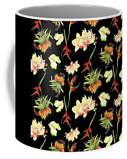 Tropical Island Floral Half Drop Pattern Coffee Mug