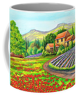Coffee Mug featuring the painting Tuscany Lavender by Val Stokes