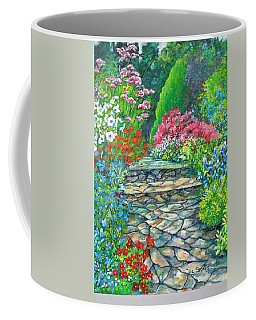 Coffee Mug featuring the painting Up The Garden Path by Val Stokes