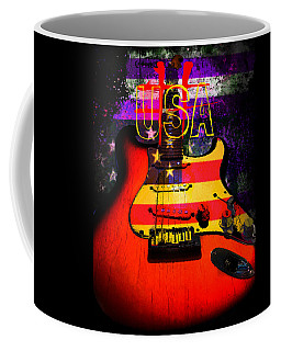 Coffee Mug featuring the photograph Red Usa Flag Guitar  by Guitar Wacky