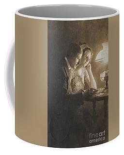 Vintage Loving Couple Reading With Oil Lamp Coffee Mug