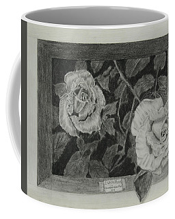 Coffee Mug featuring the drawing 2 White Roses by Quwatha Valentine