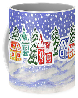 Winter Landscape With Multicolor Houses, Painting Coffee Mug