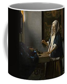 Woman Holding A Balance Coffee Mug