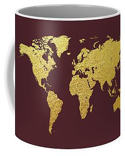 World Map Gold Foil Coffee Mug