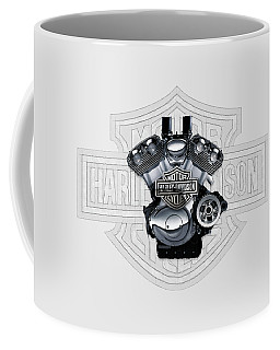 Coffee Mug featuring the digital art 2002 Harley-davidson Revolution Engine With 3d Badge  by Serge Averbukh