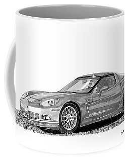 Coffee Mug featuring the painting  Corvette Roadster, Silver Ghost by Jack Pumphrey