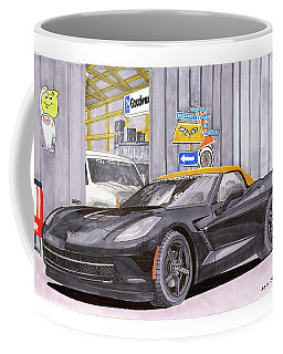 Coffee Mug featuring the painting 2014 Corvette And Man Cave Garage by Jack Pumphrey