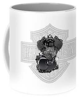 Coffee Mug featuring the digital art 2015 Harley-davidson Street-xg750 Engine With 3d Badge  by Serge Averbukh