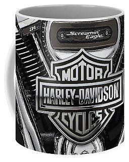 Coffee Mug featuring the digital art 2017 Harley-davidson Screamin' Eagle Milwaukee-eight 114 Engine With 3d Badge by Serge Averbukh