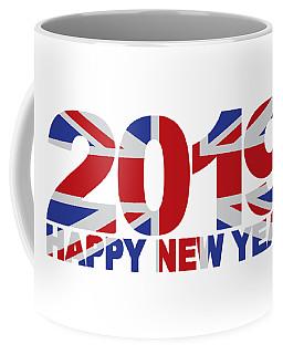 2019 Happy New Year England Flag Illustration Coffee Mug