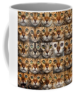 Coffee Mug featuring the photograph 25 Different Bengal Cat Faces by Sergey Taran