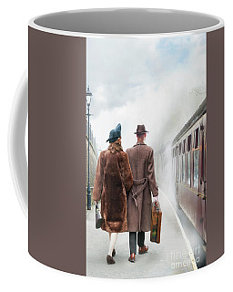 1940's Couple On A Railway Platform With Steam Train  Coffee Mug by Lee Avison