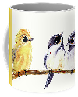 Coffee Mug featuring the painting 3 Birds On A Branch by Dawn Derman
