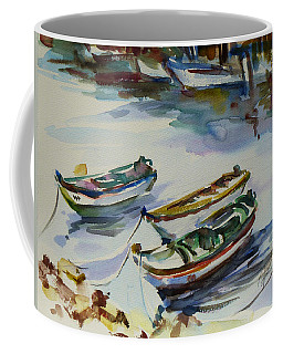 Coffee Mug featuring the painting 3 Boats I by Xueling Zou