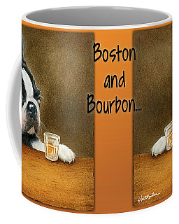 Coffee Mug featuring the painting Boston And Bourbon by Will Bullas