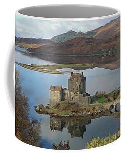 Coffee Mug featuring the photograph Eilean Donan Castle - Panorama by Maria Gaellman
