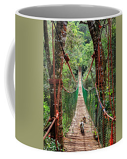 Coffee Mug featuring the photograph Hanging Bridge by Alexey Stiop