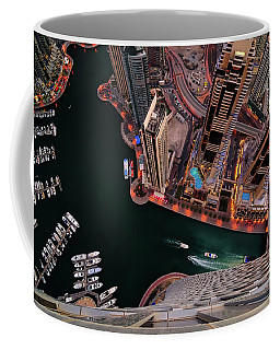 Majestic Colorful Dubai Marina Skyline During Night. Dubai Marina, United Arab Emirates. Coffee Mug