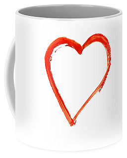 Coffee Mug featuring the drawing Painted Heart - Symbol Of Love by Michal Boubin
