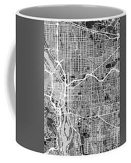 Coffee Mug featuring the digital art Portland Oregon City Map by Michael Tompsett