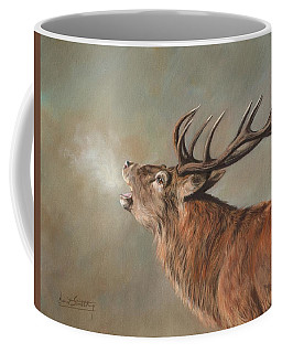 Coffee Mug featuring the painting Red Deer Stag by David Stribbling
