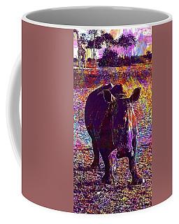 Coffee Mug featuring the digital art Rhino Africa Namibia Nature Dry  by PixBreak Art