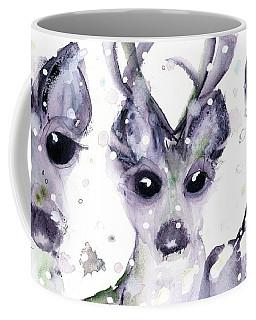 Coffee Mug featuring the painting 3 Snowy Deer by Dawn Derman