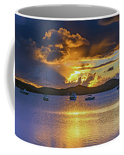 Sunrise Waterscape With Clouds And Boats Coffee Mug