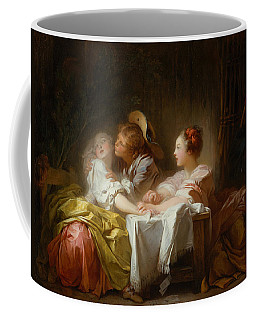 Coffee Mug featuring the painting The Stolen Kiss by Jean-Honore Fragonard