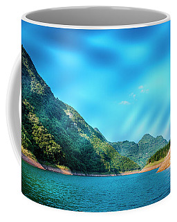 The Mountains And Reservoir Scenery With Blue Sky Coffee Mug