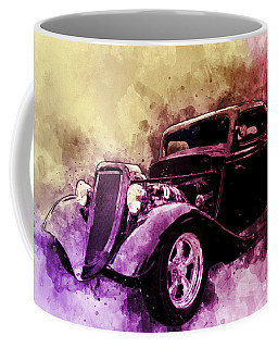 34 Ford Three Window Coupe Pen And Ink Watercolour Coffee Mug