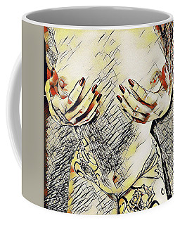 3787s-drl Cupping Her Breasts Erotica In The Style Of Kandinsky Coffee Mug