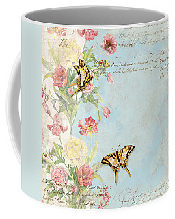 Fleurs De Pivoine - Watercolor W Butterflies In A French Vintage Wallpaper Style Coffee Mug