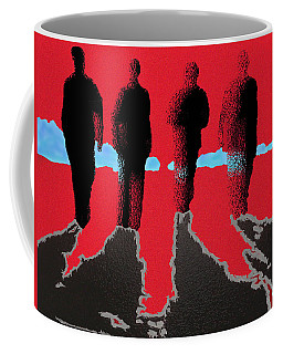 Coffee Mug featuring the drawing 4 Friends Walking Into The Sun by Robert Margetts