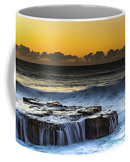 Sunrise Seascape With Cascades Over The Rock Ledge Coffee Mug