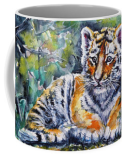 Coffee Mug featuring the painting Tiger Cub by Kovacs Anna Brigitta