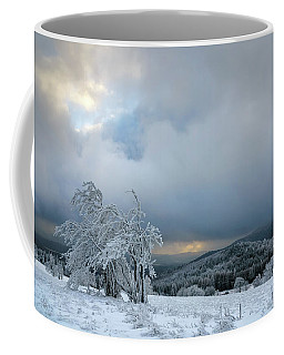 Typical Snowy Landscape In Ore Mountains, Czech Republic. Coffee Mug