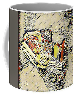4248s-jg Zebra Striped Woman In Armchair By Window Erotica In The Style Of Kandinsky Coffee Mug by Chris Maher