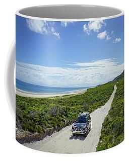 4wd Car Exploring Remote Track On Sand Island Coffee Mug