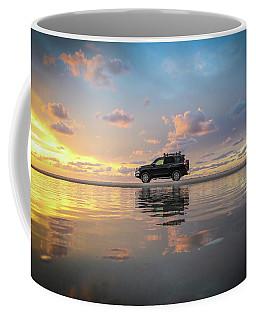 4wd Vehicle And Stunning Sunset Reflections On Beach Coffee Mug