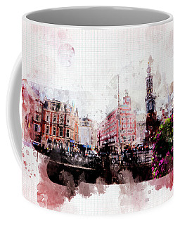 Coffee Mug featuring the digital art City Life In Watercolor Style  by Ariadna De Raadt