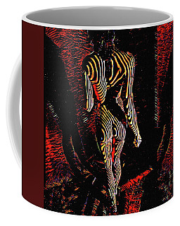 5360s-mak Abstract Zebra Striped Woman Strong Shoulders Coffee Mug by Chris Maher