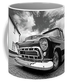 57 Stepside Chevy In Black And White Coffee Mug