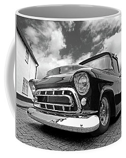 57 Stepside Chevy In Black And White Coffee Mug