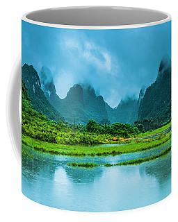 Karst Rural Scenery In Raining Coffee Mug