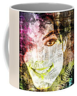 Coffee Mug featuring the mixed media Michael Jackson by Svelby Art