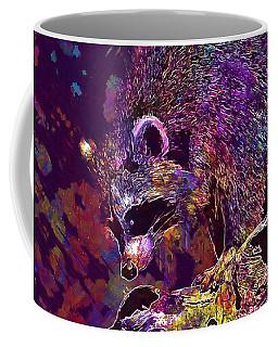 Coffee Mug featuring the digital art Raccoon Wild Animal Furry Mammal  by PixBreak Art
